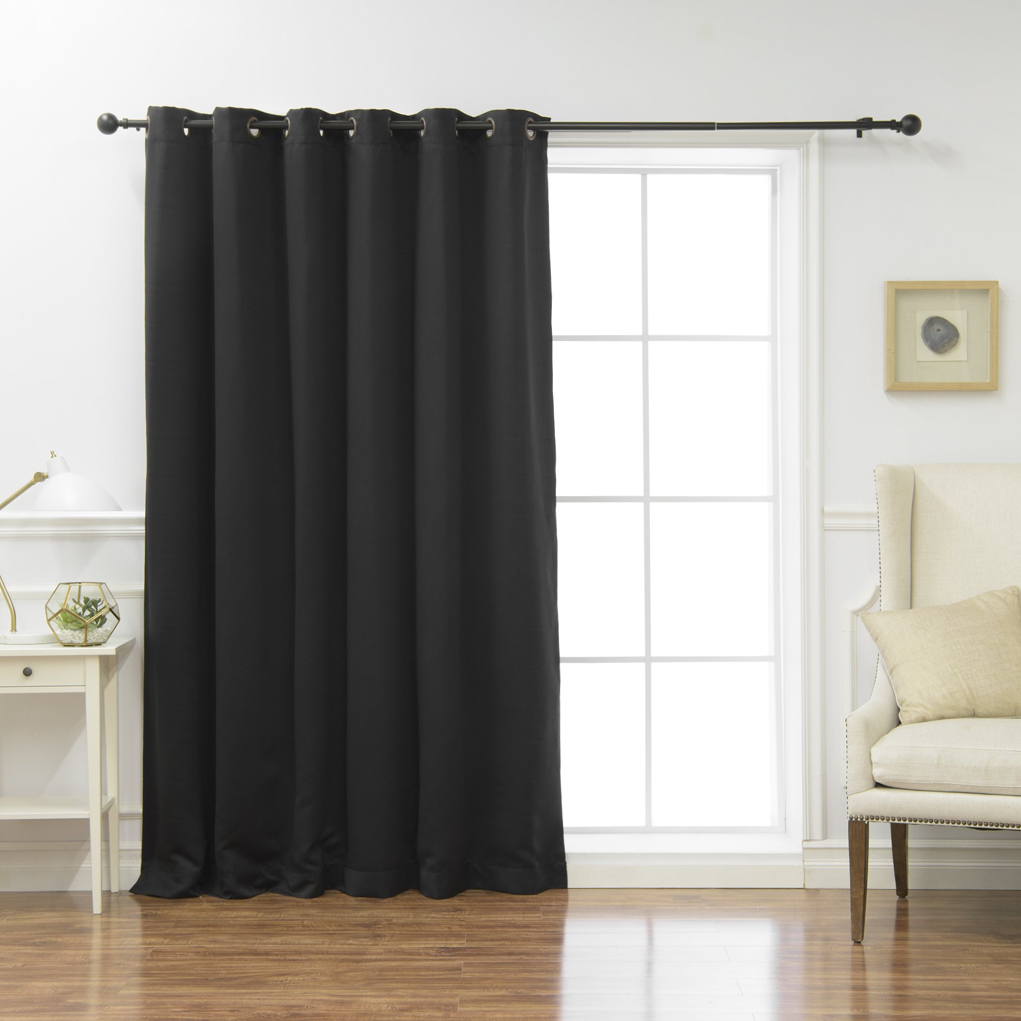 Best Home Fashion Wide Width Thermal Insulated Blackout Curtain - Antique Bronze Grommet Top - Black - 80'' W x 108'' L - (1 Panel)