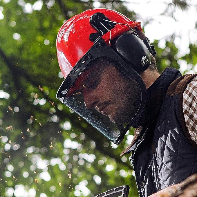 Dream-Zone Casco de Seguridad con Visera de Malla para protecci/ón Forestal de Troncos