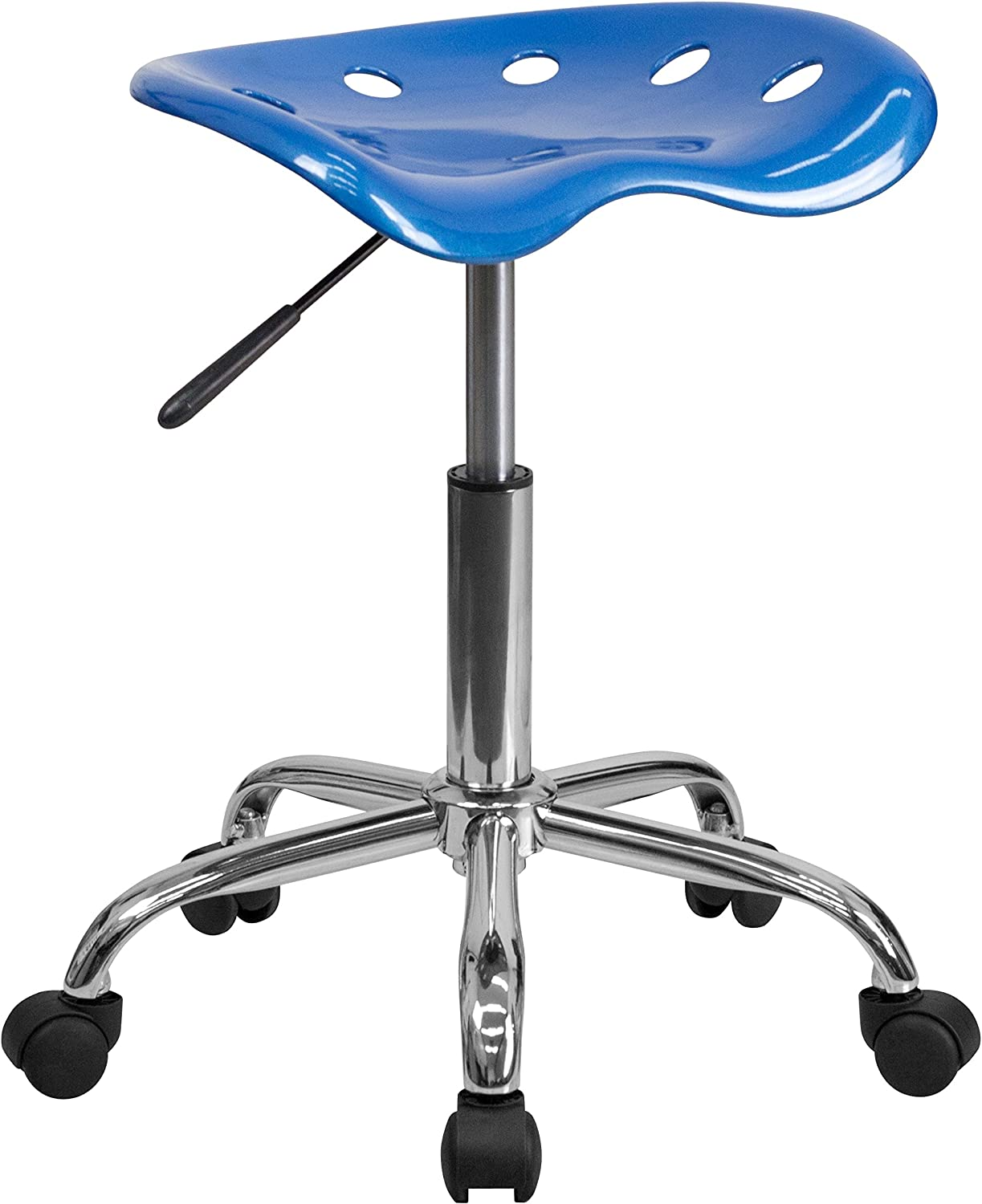 Flash Furniture Vibrant Bright Blue Tractor Seat and Chrome Stool