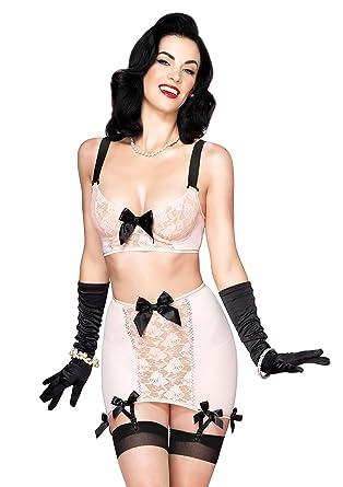 175ff1f17 Leg Avenue Women s 3 Piece Blush Set Mesh Underwire Bra Girdle Skirt with  Garters G-