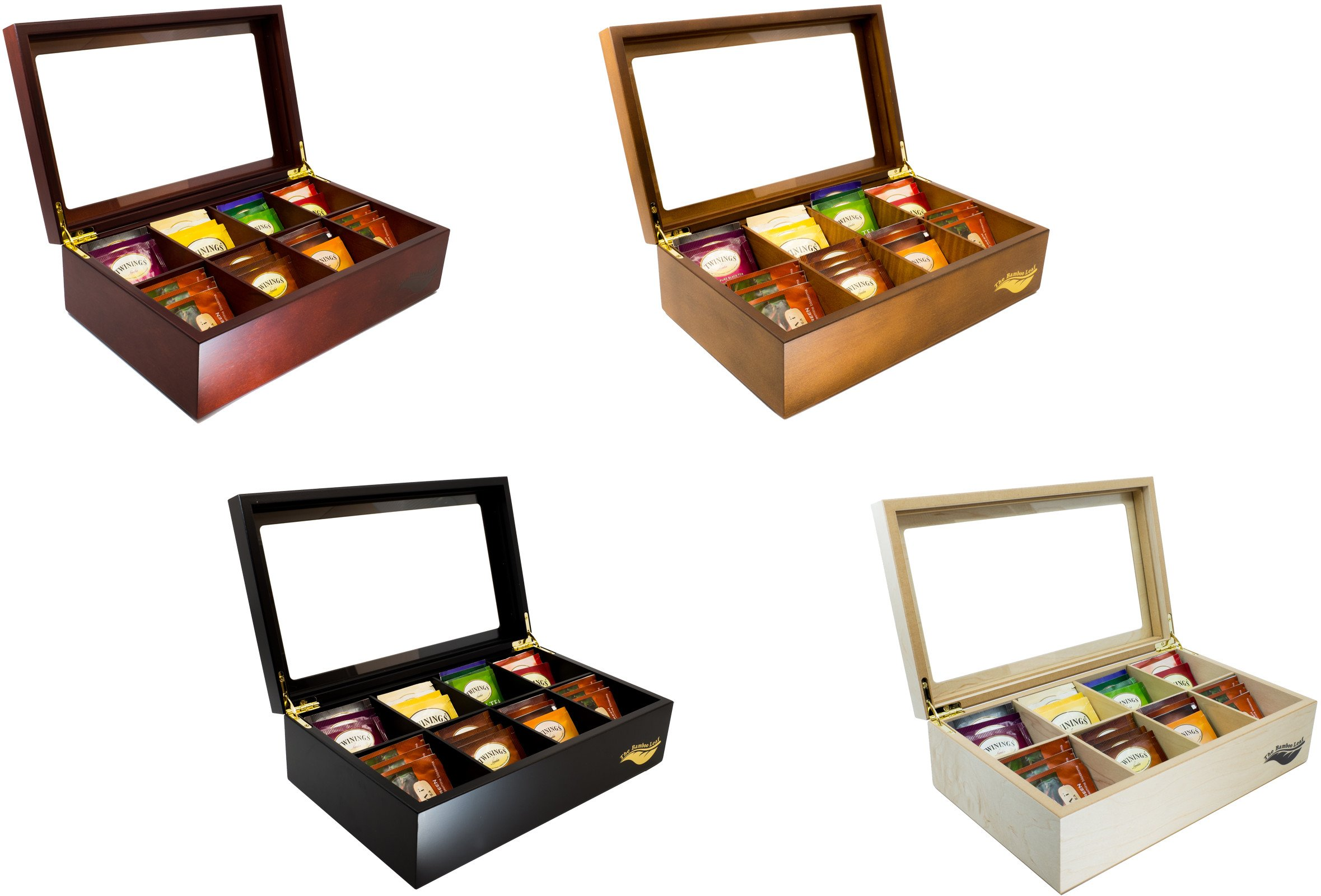 The Bamboo Leaf Luxury Wooden Tea BoxStorage Chest, 8 Compartments w/Glass Window (Natural) by The Bamboo Leaf (Image #8)