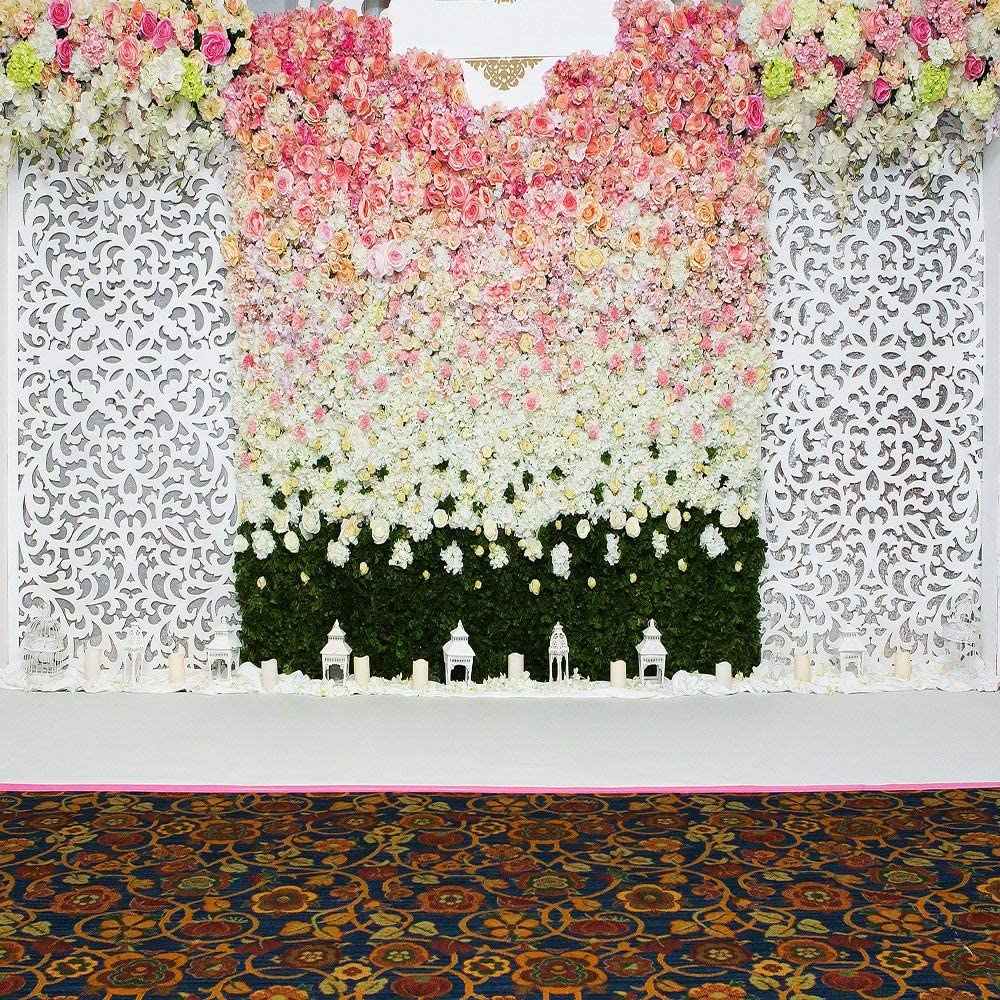 GoHeBe 10x10Ft Seamless Flowers Wall Wall Vinyl Photography Backdrop Photo Background Studio Prop PGT091B