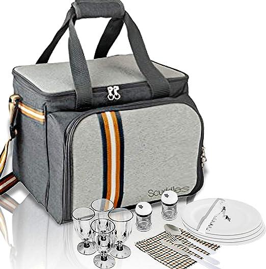 con compartimentos incluidos de cuberter/ía y nevera Mochila Hamper para piscnic doble
