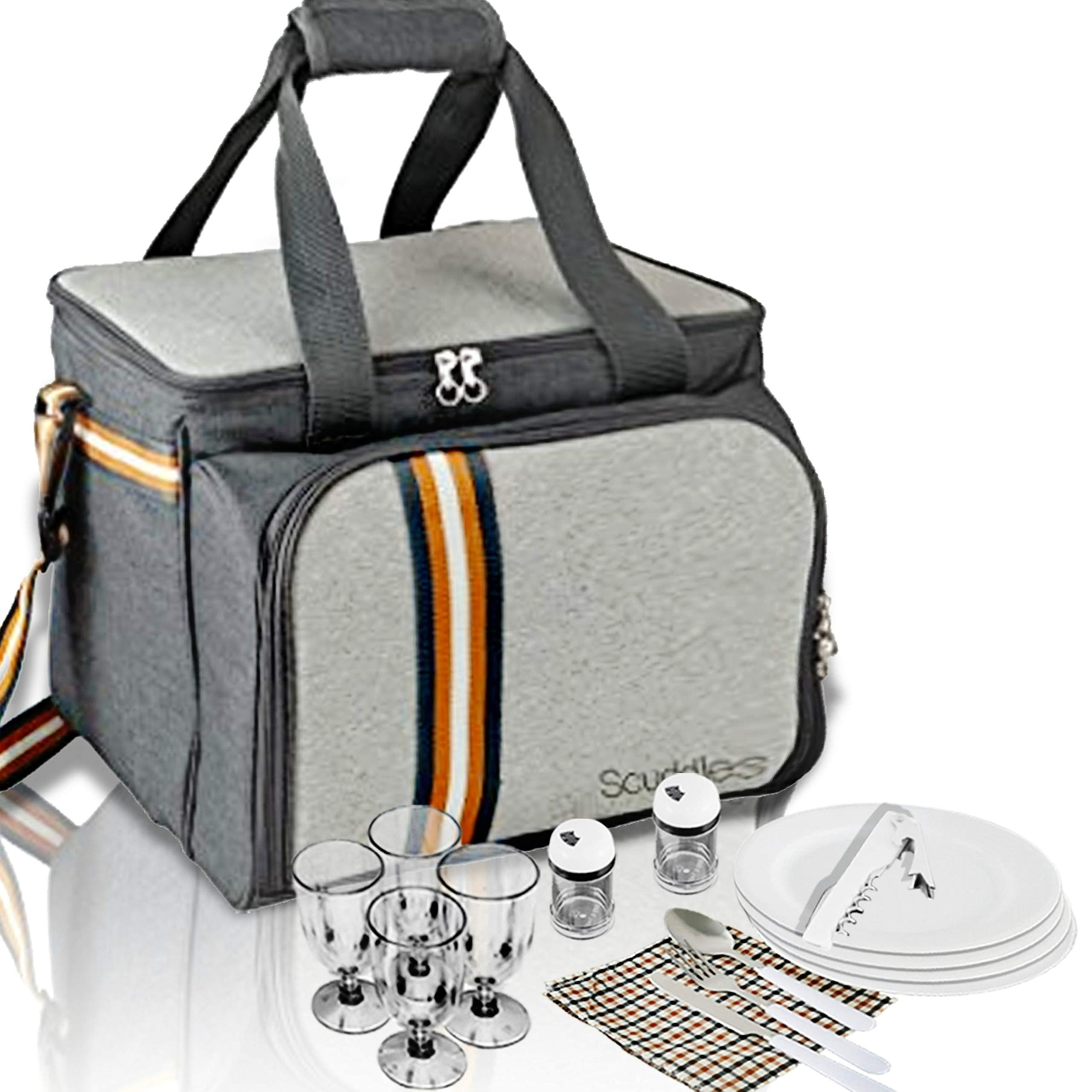 PREMIUM Extra Large Picnic Basket keeps food Hot/Cold for 12 Hours UPGRADED lunch tote For 4 People Picnics includes stainless steel spoons forks plates napkins wine With Flatware (PICNIC BASKET) by Scuddles