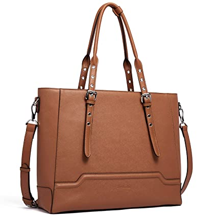 4777f2688621 BOSTANTEN Women Briefcase Leather Laptop Shoulder Handbag Fit Up to 15.6  inch Tote Work Purses Cross-Body Bag