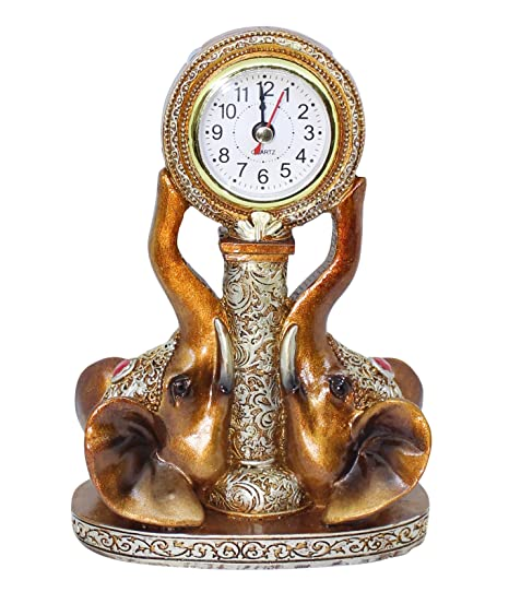 TIED RIBBONS Decorative Table Clock for Living Room Bedroom Shelf Office(Resin,Copper Color)