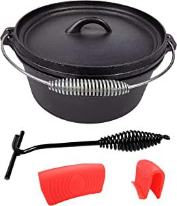 Pre-Seasoned Cast Iron Camp Dutch Oven, 4.1 qt, including Lid Lifter and Silicone Handle Holders
