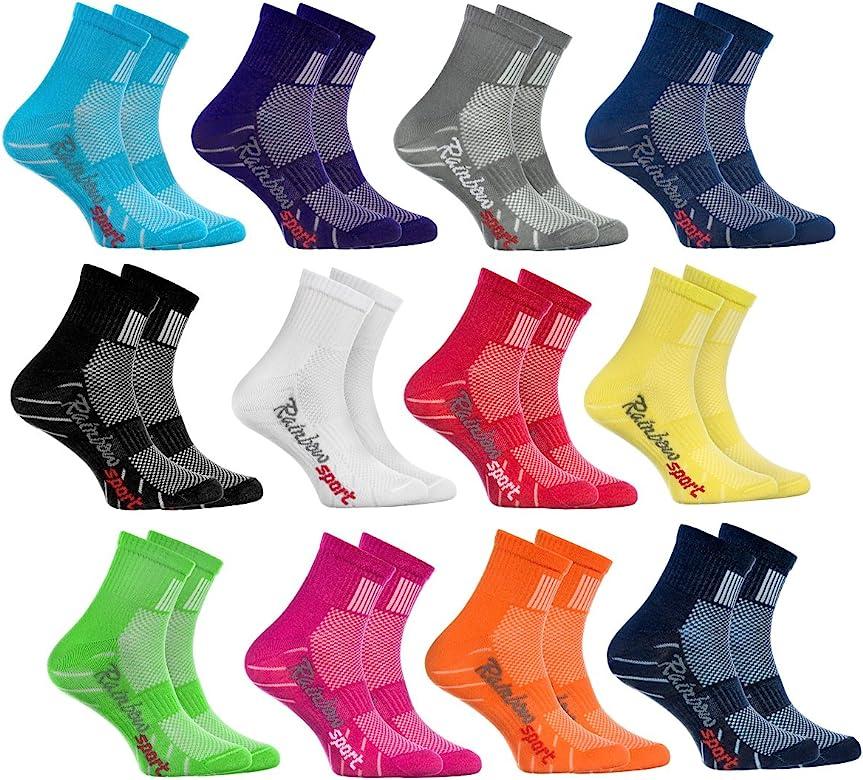 Rainbow Socks - Niño Niña Calcetines Deporte Colores Algodón - 12 Pares - Rojo Verde Amarillo Azul de Mar Azul Azul Marino Rosa Blanco Negro Gris Naranja Púrpura - Talla 24-29: Amazon.es: Ropa y accesorios