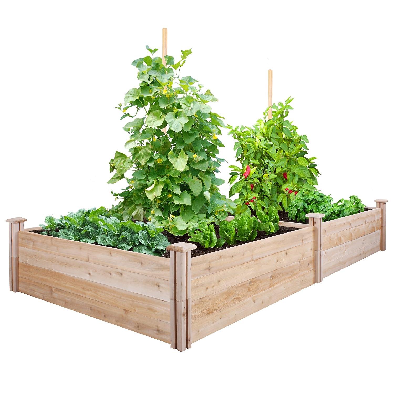 Amazon.com : Greenes Fence Cedar Raised Garden Kit 4 Ft. X 8 Ft. X 14 In. :  Garden U0026 Outdoor
