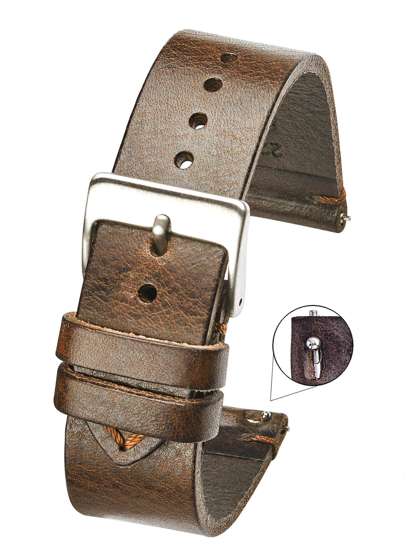 Hand Made Genuine Vintage Leather Watch Strap with Quick Release Steel Spring Bars - Brown - 22mm (fits Wrist Size 6 1/4 inch to 8 inch)