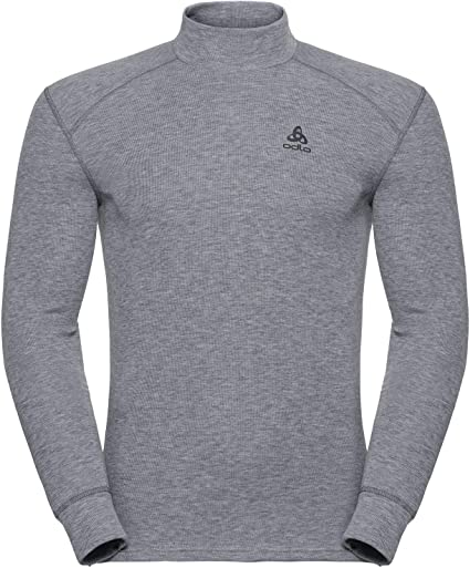 Odlo Bl Top Turtle Neck L/S Active Warm Camiseta, Hombre, Grey Melange, M