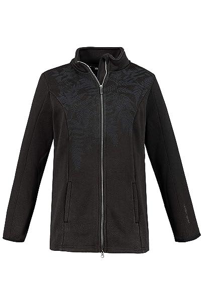 Ulla Popken Womens Plus Size Contrast Lined Sweater Knit Fleece Jacket 720977