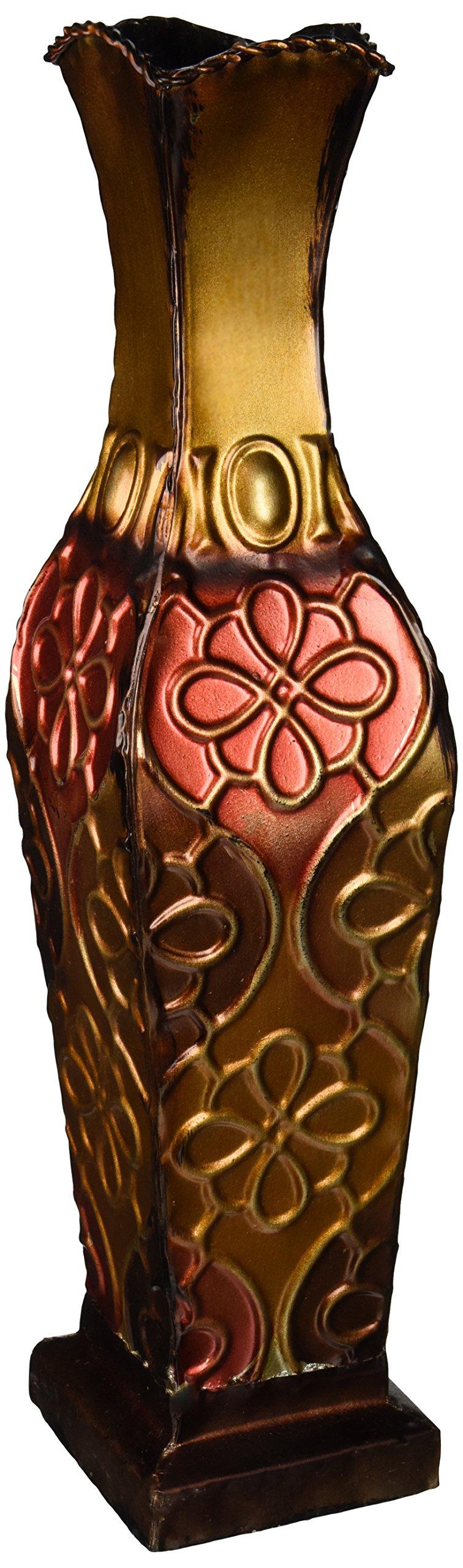 Elements Embossed Metal Floral Decorative Vase, 17-Inch