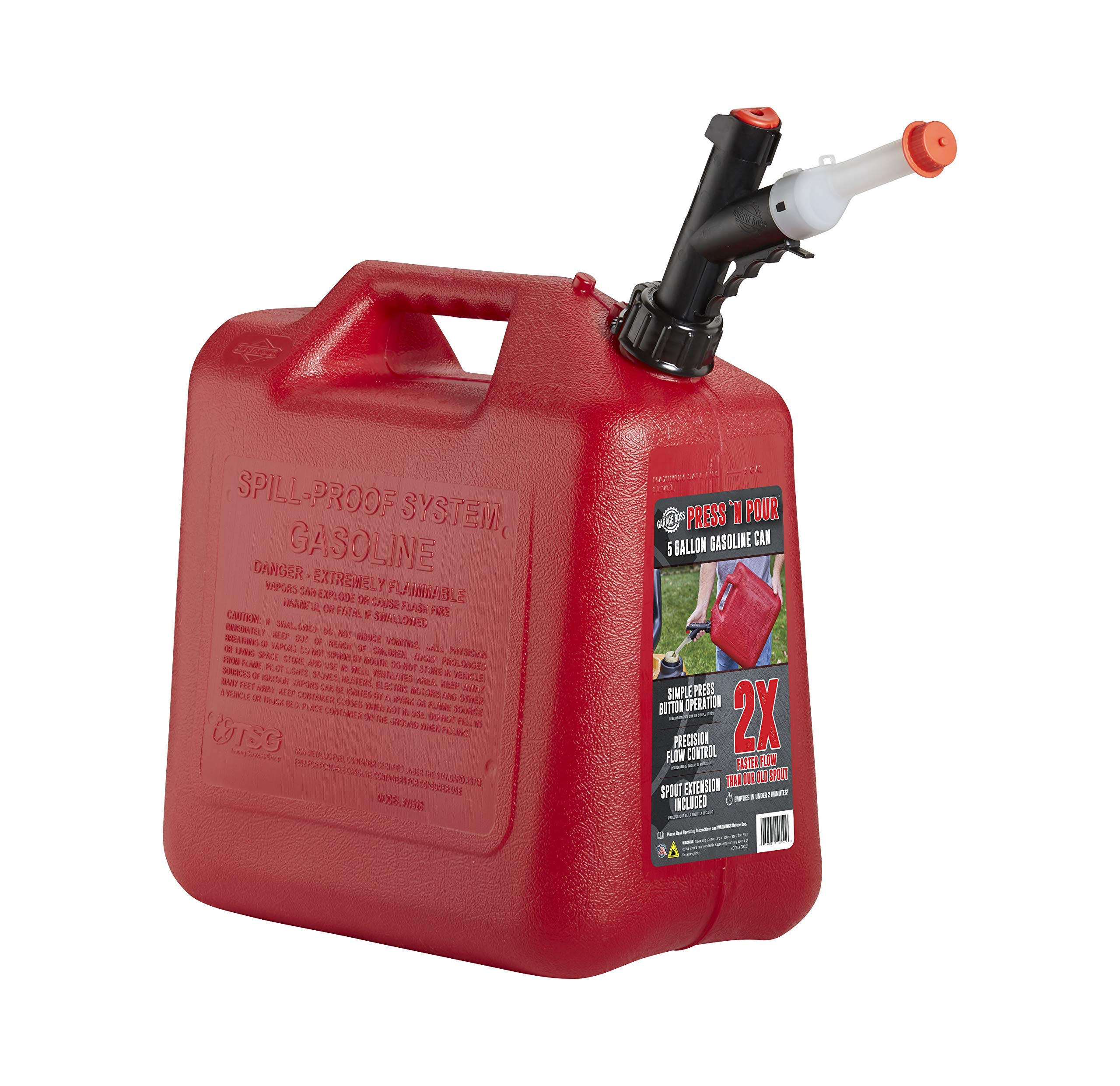 GARAGE BOSS GB351 Briggs and Stratton Press 'N Pour Gas Can, 5 Gallon, Red by GARAGE BOSS