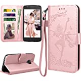 Moto E4 Case For Girls, 2017 Motorola Moto E 4th Generation Flip Cover, Tekcoo Luxury PU Leather [Rose Gold] Wallet ID Cash Credit Card Slots Holder Clutch Protective Carrying Cases & Kickstand