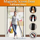 """ALTMAN Magnetic Screen Door Heavy Duty Magic Mesh Curtain Screen and Full Frame Velcro Keep Bugs Out Let Fresh Air In, Top-to-Bottom Seal No Mosquitos - Fits Door Up To 34"""" x 82"""" MAX"""
