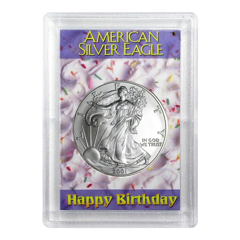 2019 Silver American Eagle BU in Pink Happy Birthday Gift Holder