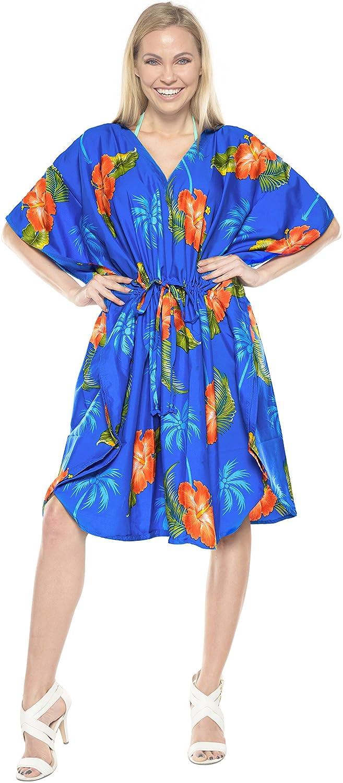 LA LEELA Womens Caftan Sundress Casual Evening Dress Cover Ups Drawstring A