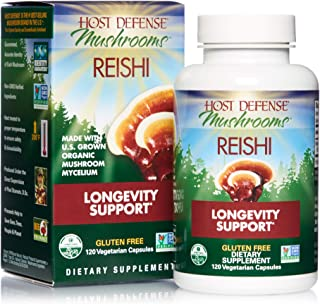 product image for Host Defense, Reishi Capsules, Supports General Wellness and Vitality, Daily Mushroom Mycelium Supplement, USDA Organic, Gluten Free, 120 Vegetarian Capsules (60 Servings)
