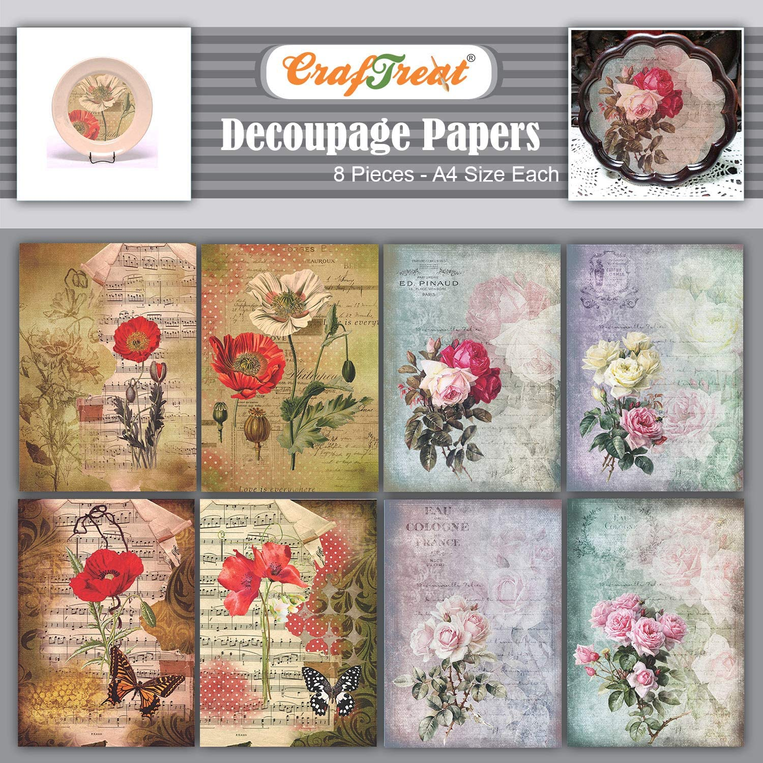 CrafTreat Rose Decoupage Paper for Crafts and Furniture - Poppies and Roses - Size: A4-8 Pcs - Furniture Decoupage Paper Roses - Decoupage Paper for Scrapbooking