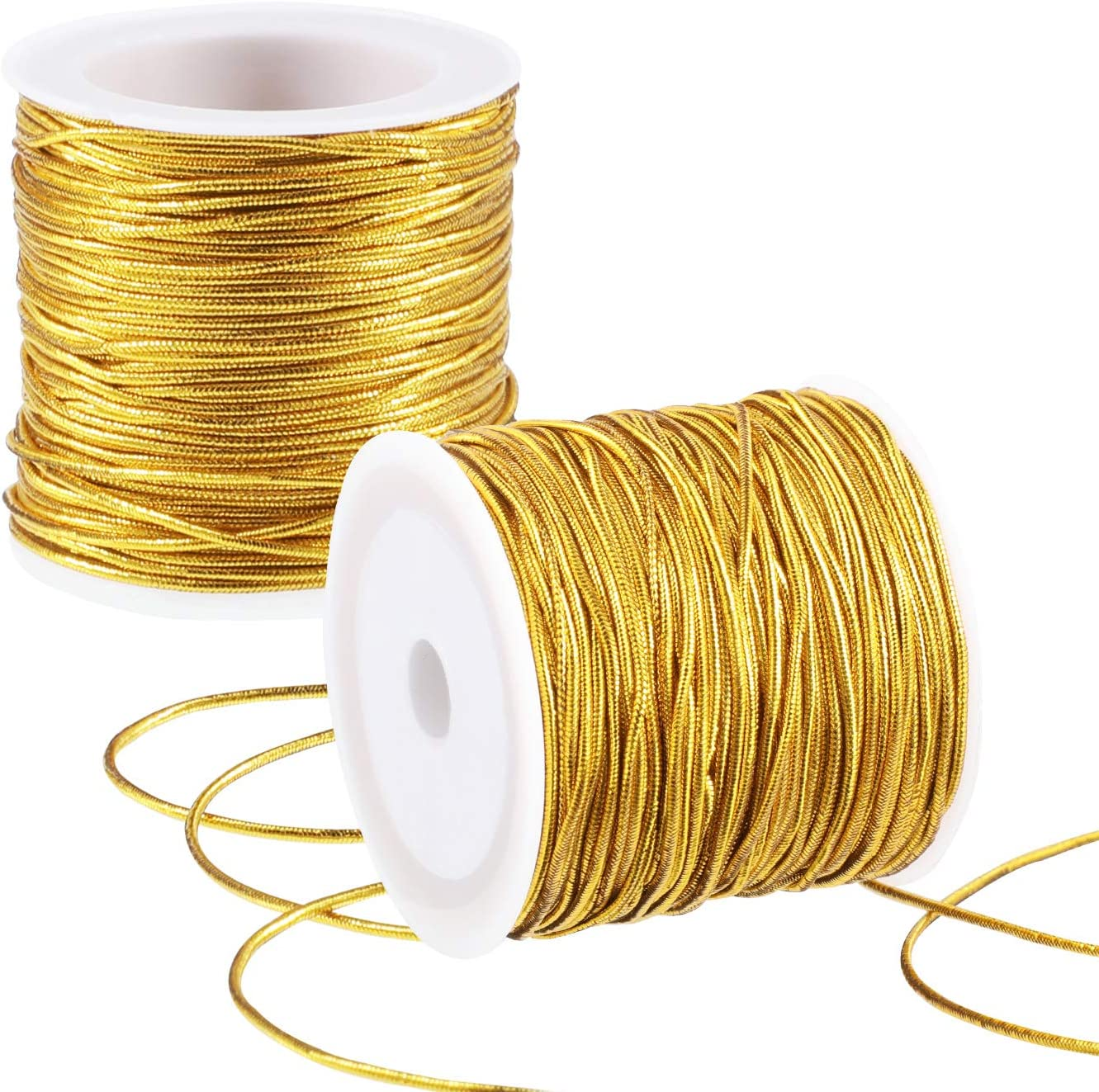 2 Rolls Metallic Elastic Cords Stretch Cord Ribbon Metallic Tinsel Cord Rope for Craft Making Gift Wrapping Gold 1 mm 55 Yards