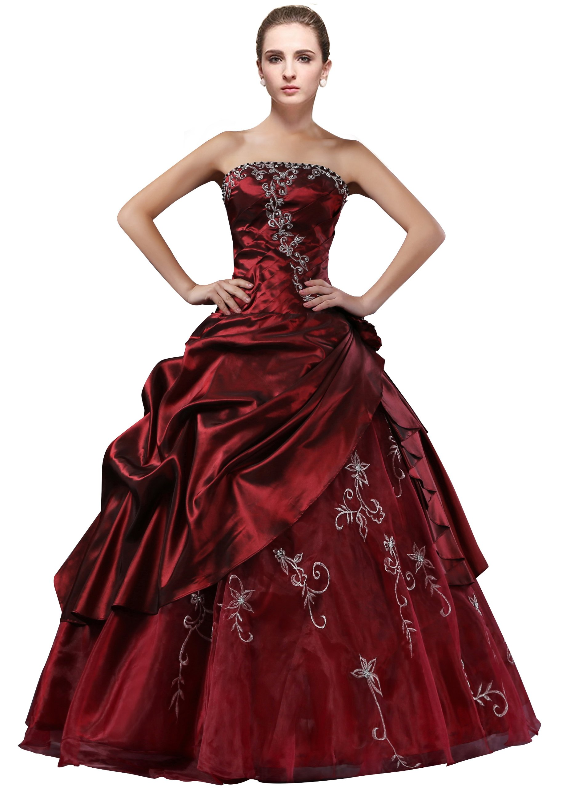 dlfashion strapless a line embroidered taffeta prom dress