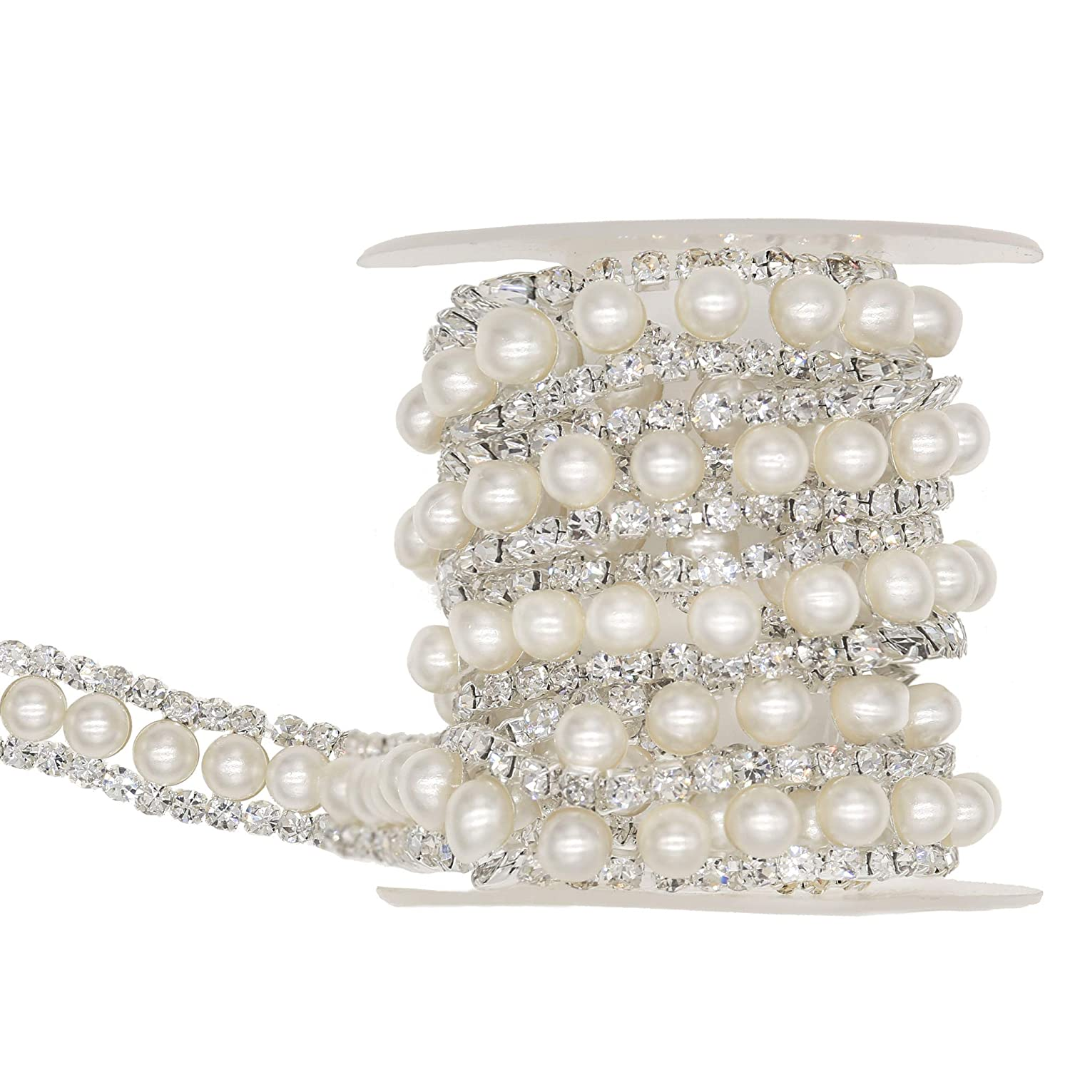XIAOTAI Rhinestone Trims 1 Yard 2 Rows Crystal Chain Banding Diamond Inlaid White Pearl Beaded Rhinestones for Crafts Clothing and Bridal Embellishments Exquisite Wedding and Easter Ideas
