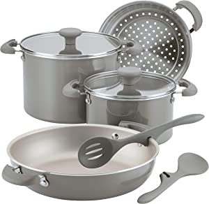 Rachael Ray Get Cooking Stackable Nonstick Cookware Pots and Pans Set, 8 Piece, Gray