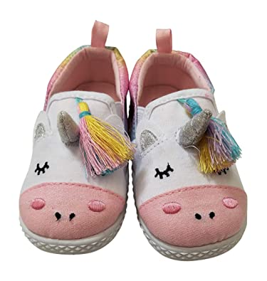 c4c7482b13 Toddler Baby Girls Canvas Unicorn Slip-On Slipper Shoes with Metallic  Textile Horn and Rainbow