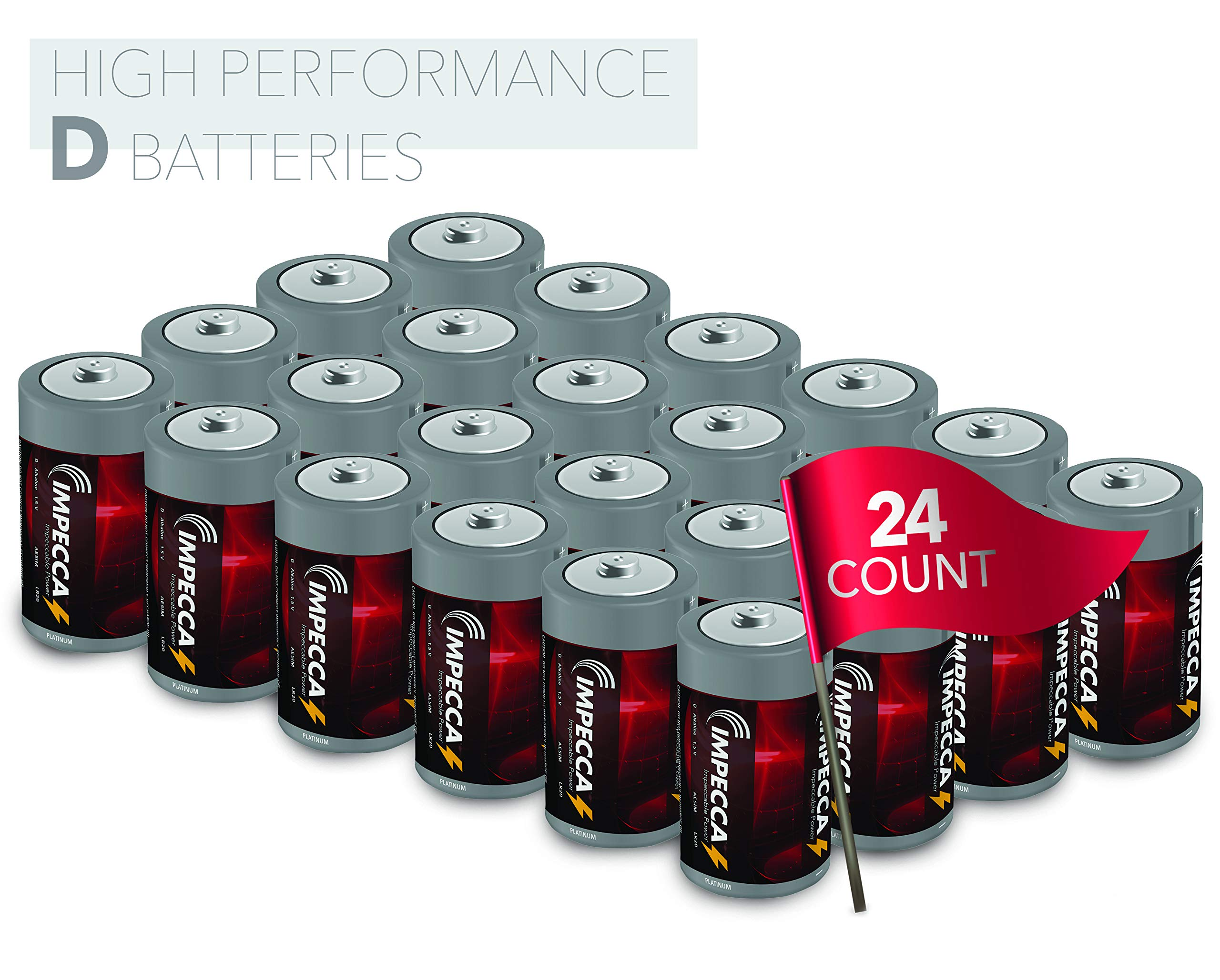 IMPECCA D Cell Batteries, LR20 (24-Pack) Everyday All Purpose Alkaline Battery, High Performance, Long Shelf Life, and Leak Resistant, D Size Battery, 24-Count - Platinum Series