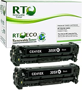 Renewable Toner Compatible Toner Cartridge Replacement for HP 305X CE410X Laserjet Pro M375 MFP M451 MFP M475 MFP (2-Pack)