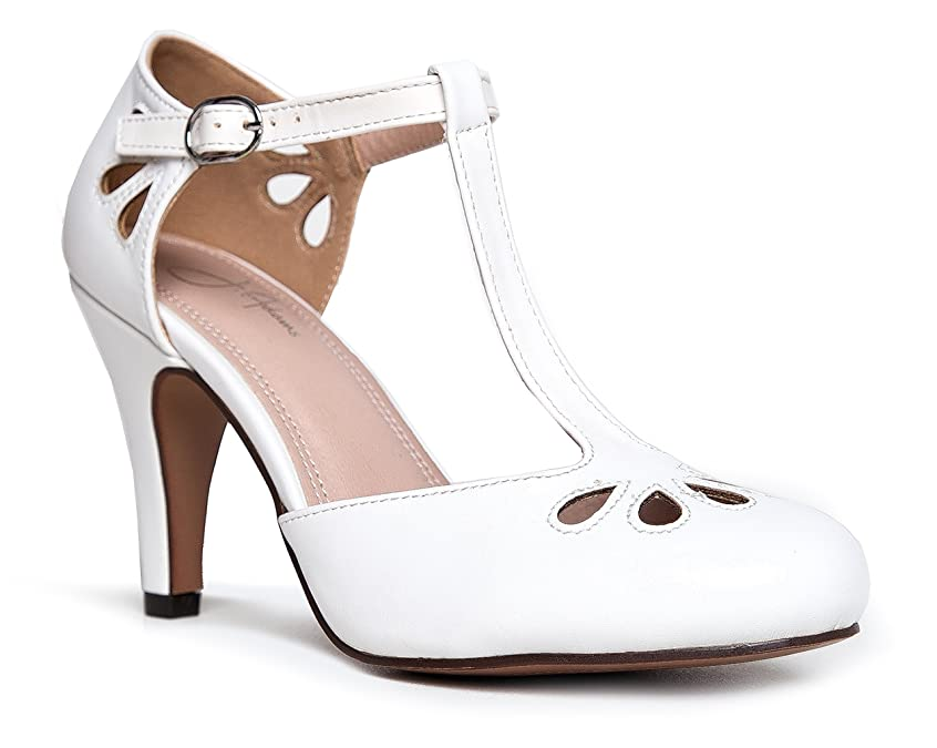 1920s Wedding Shoes | Art Deco Wedding Shoes J. Adams Mary Jane Pumps - Vintage Tear Drop Cutout Low Kitten Heels – Retro Round Toe Adjustable Ankle T Strap – Pepper by $39.99 AT vintagedancer.com