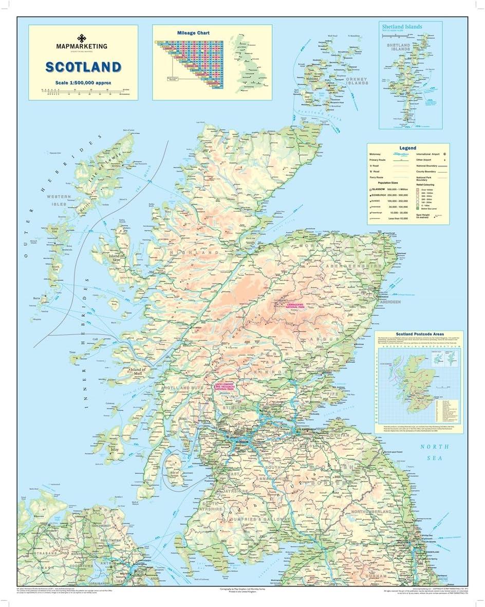 Cartina Scozia Dettagliata.Scotland Road Mappa Mappa Della Scozia Amazon It Cancelleria E Prodotti Per Ufficio