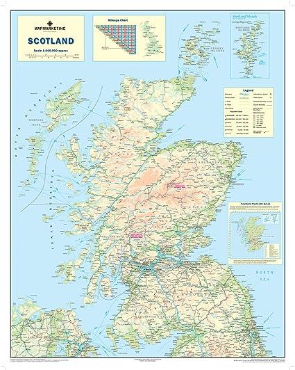 Mapa de la carretera de Escocia - Mapa de pared de Escocia: Amazon.es: Oficina y papelería