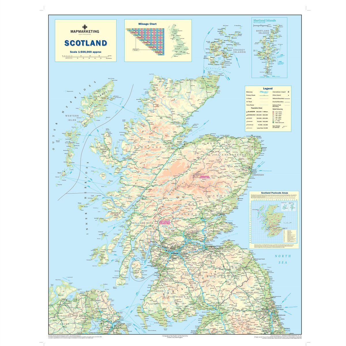 Wall Map of Scotland Scotland Road Map