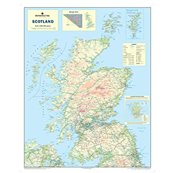Map Of Uk And Scotland.Scotland Road Map Wall Map Of Scotland Amazon Co Uk Office Products