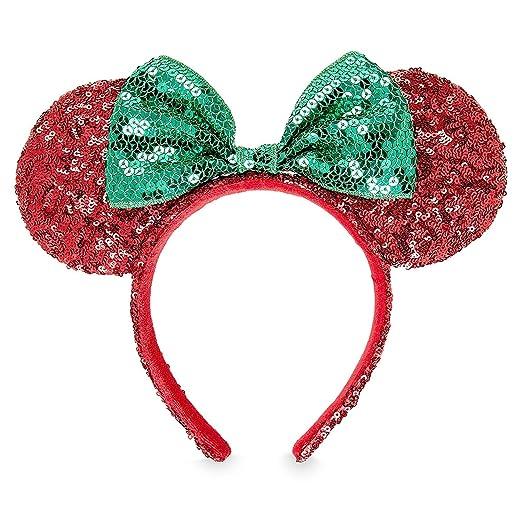 HANDMADE Christmas Red Green Peppermint Candy Minnie Ears Headband Disney Park