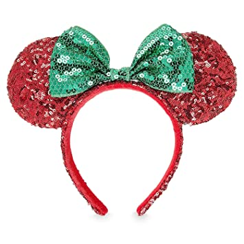 fa9b8c737dc Image Unavailable. Image not available for. Color  Disney Minnie Mouse  Christmas Headband Ears Sequins Bow Green Red Theme Parks