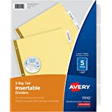 Avery Big Tab Insertable Dividers, Buff Paper, 5 Clear Tabs, 1 Set (11110)