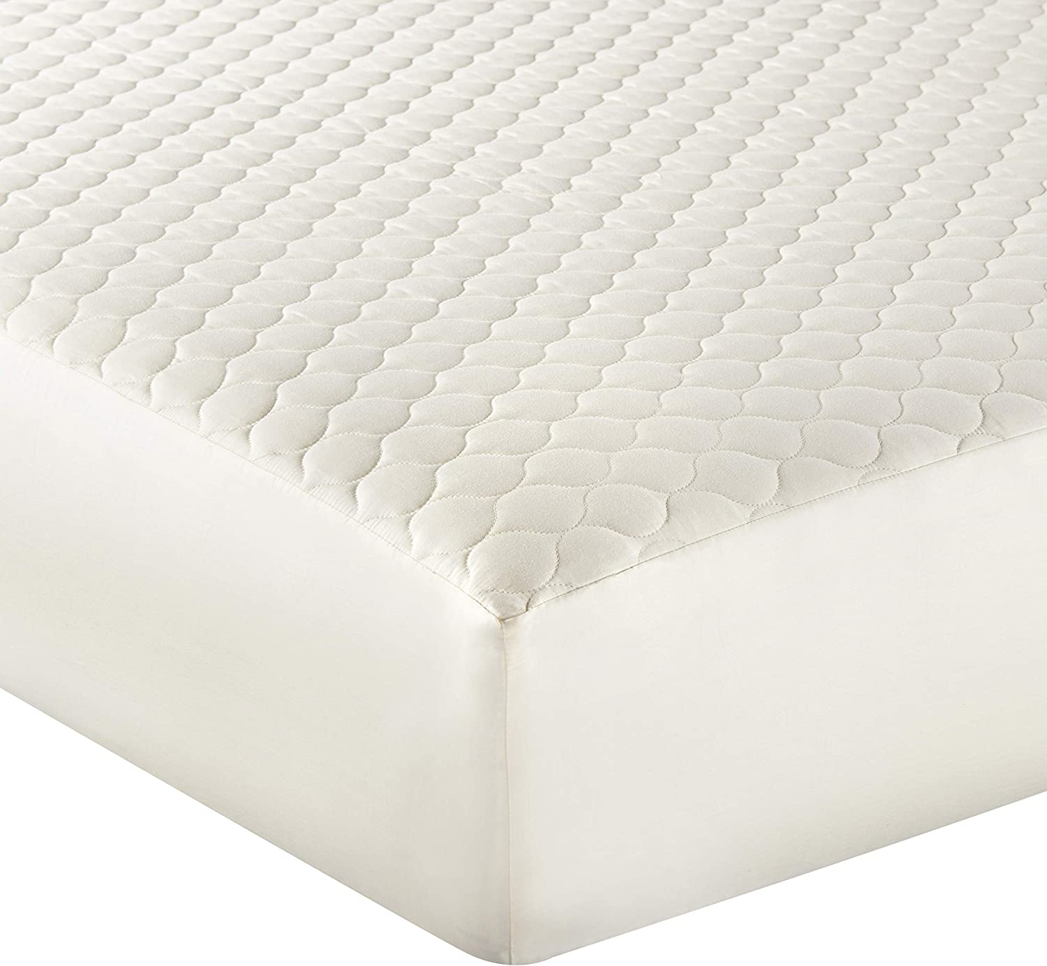 """Whisper Organics 100% Organic Cotton Quilted Mattress Cover, 17"""" Deep - GOTS Certified (King, Ivory)"""