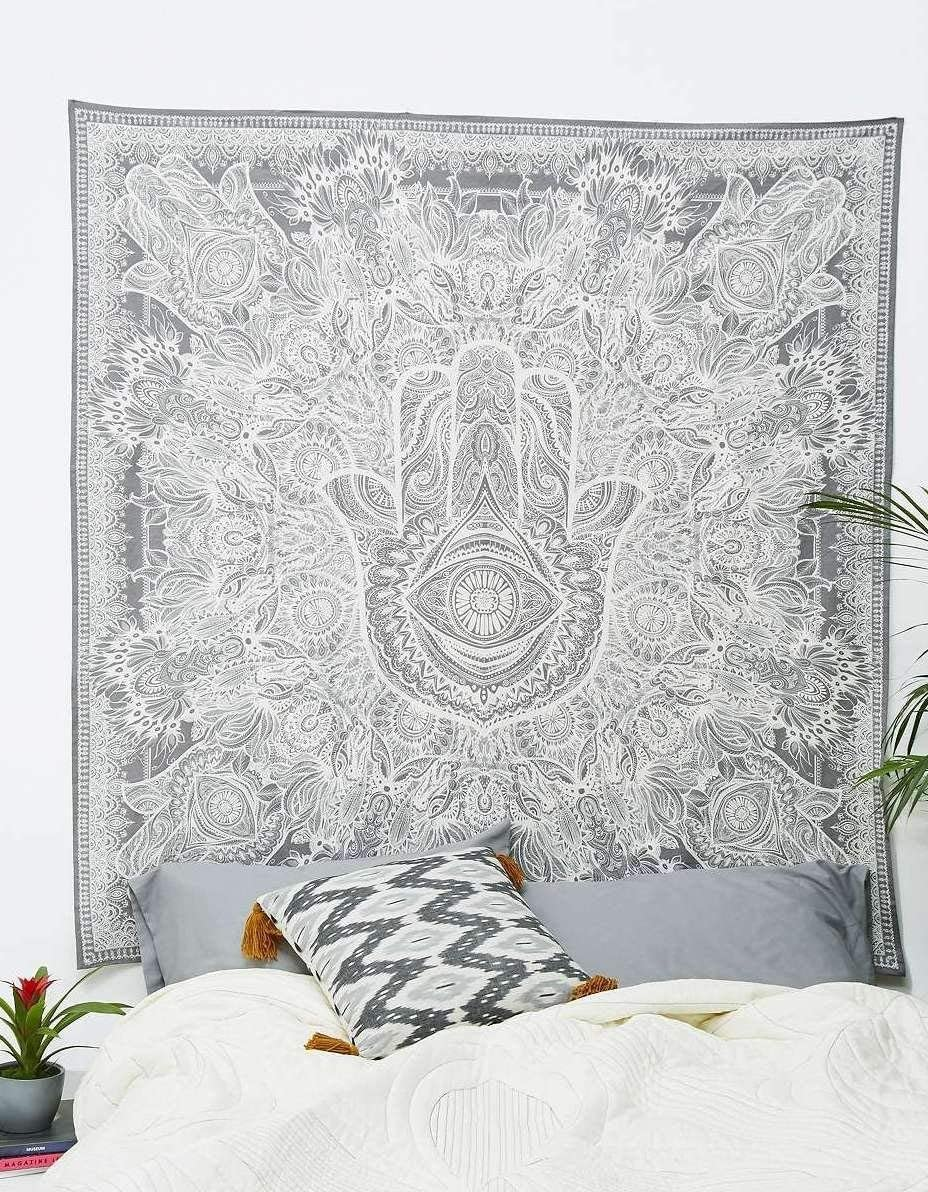 Craft N Craft India Wall Tapestry – Hanging Mandala Tapestries Bohemian Beach Picnic Blanket Hippie Decorative Psychedelic Dorm Decor – 85 x 83 Inch White Queen