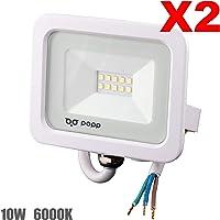 POPP® Foco Proyector LED 10W para uso Exterior Iluminación Decoración 6000K luz fria Impermeable IP65 Blanco transparente y Resistente al agua.PACK x2 (10)