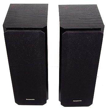 Pair Of PANASONIC SB AFC20 Stereo Black Wood Speakers Satelite Front Or Rear Bookshelf
