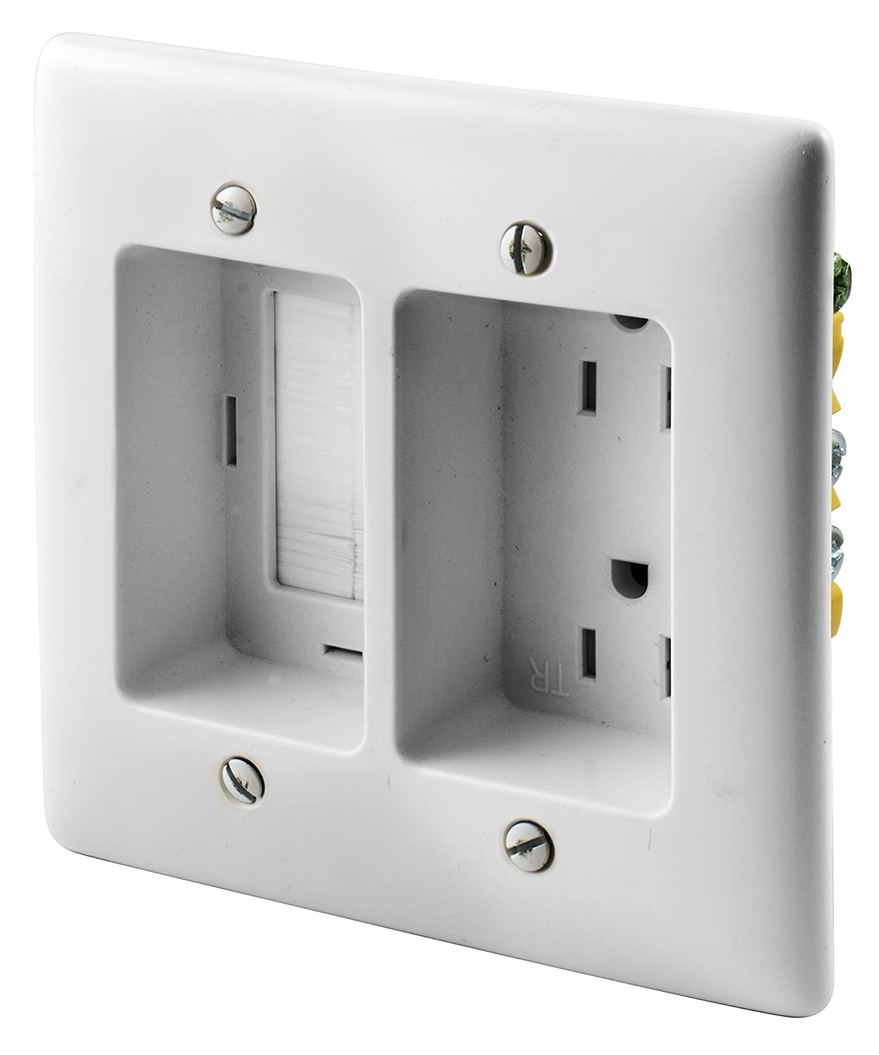 Bryant Electric RR1512W 2-Gang Recessed TV Connection Outlet Plate with 15  Amp 125V Tamper-Resistant Duplex Receptacle with One Pass-Thru Opening, ...