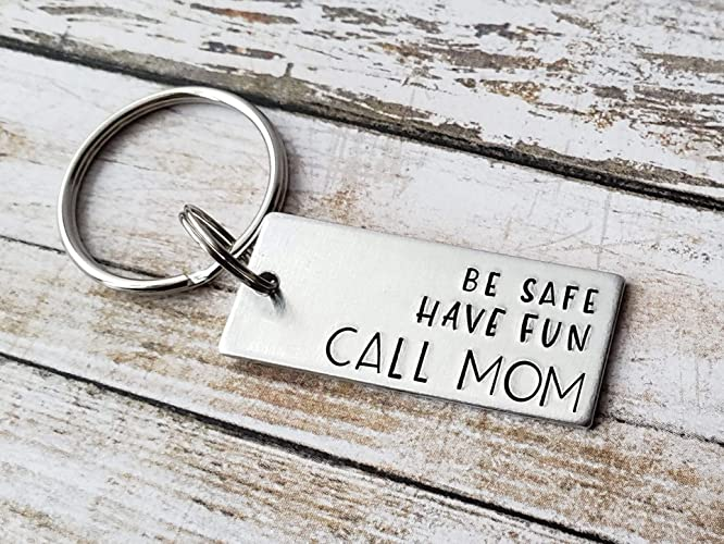 Amazon Be Safe Have Fun Call Mom New Driver Keychain Teen Birthday Gift Handmade