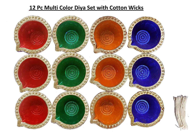 12 Pc Set of Diwali Gift / Diwali Decorations Diwali Diya.Handmade Natural Earthen Oil Lamp/Welcome Traditional Diyas with Cotton wicks Batti. Deepawali Diya Lamp. Diwali Earthen Lamp. Oil lamp