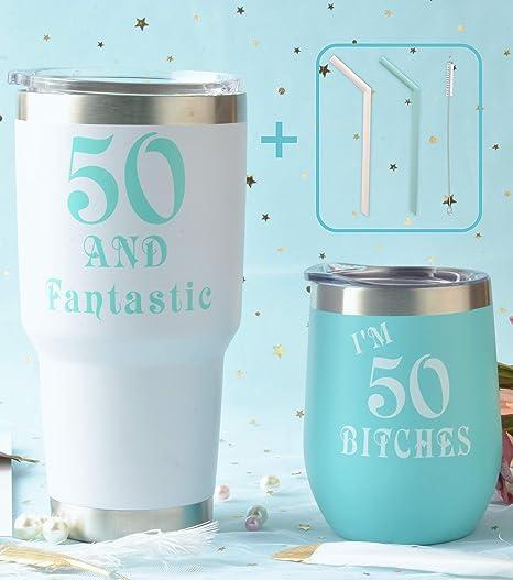 Amazon.com: Vaso de vino de 50 cumpleaños, paquete de menta ...