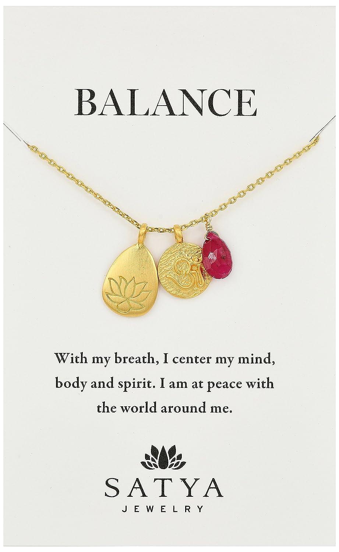 Amazon Satya Jewelry Classics Gold Plated Ruby Lotus Three