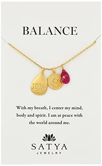 58ae799f2c9ad Satya Jewelry Classics Gold-Plated Ruby Lotus Three-Charm Necklace, 18