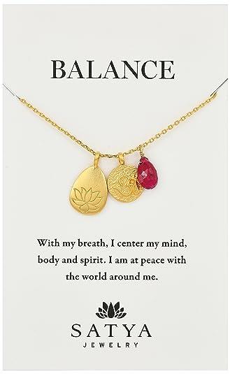 "222f7342abdbb9 Satya Jewelry Classics Gold-Plated Ruby Lotus Three-Charm Necklace, 18"""